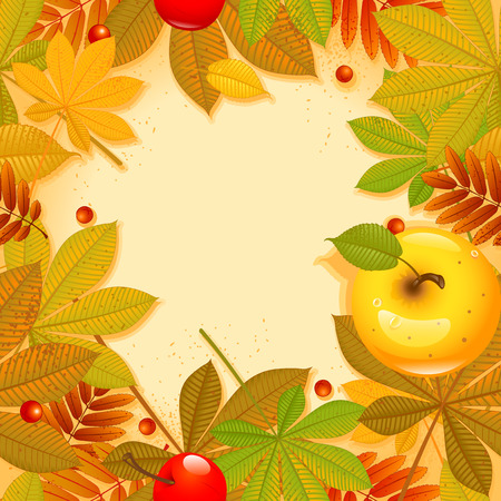 golden apple: Autumn background with leaf.  Happy thanksgiving day. eps 10