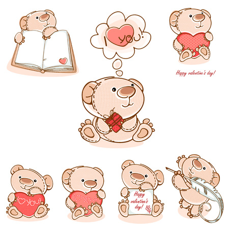 funny baby: set valentine teddy bear  with red  heart. Valentine card. Vector illustration