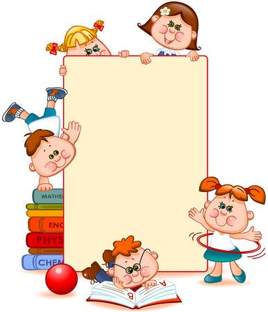 Frame met schoolkinderen en schoolbenodigdheden. Ruimte voor tekst. Vector illustratie