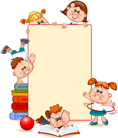preschool classroom: Frame with school children and school supplies. Space for text. Vector illustration