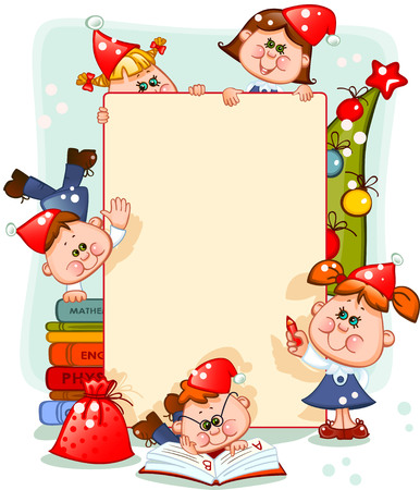 preschool classroom: Frame with new years children and christmas tree. place for text. Vector illustration Illustration