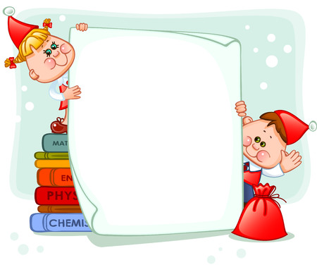 school baby: Frame with new years children. place for text. Vector illustration