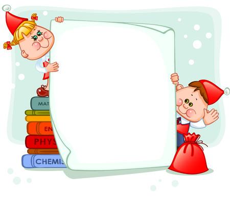 Vector children: Khung với trẻ em năm mới. đặt cho văn bản. vector hình minh họa