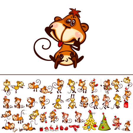 happy new year: Set  chinese zodiac postcard 2016 with the monkey and stylized christmas tree. You can add as isolated icon.