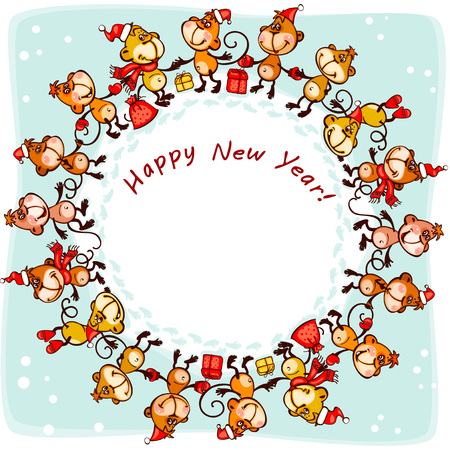 new years: 2016  New Years card.  monkey in  circle Illustration