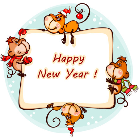 monkey clip: New Years frame  2016  with the  monkey