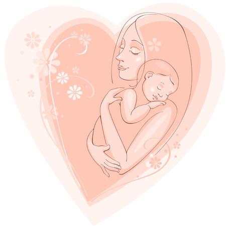 mamma e figlio: cartolina greating - giorno felice madre. Vector background