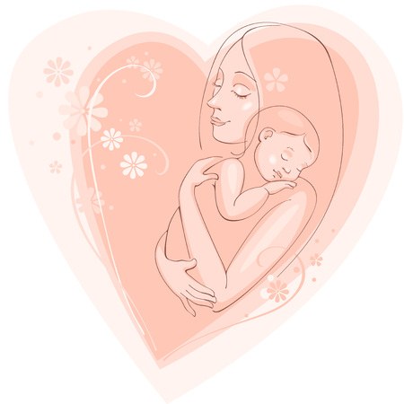mom son: Greating postcard - happy mother day. Vector background