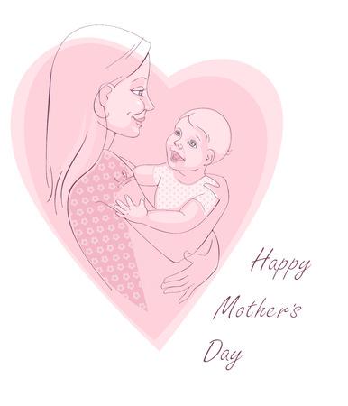 flor caricatura: Greating postal - el día de madre feliz. Fondo del vector.