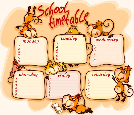school schedule: school schedule for 2016  with the  monkey