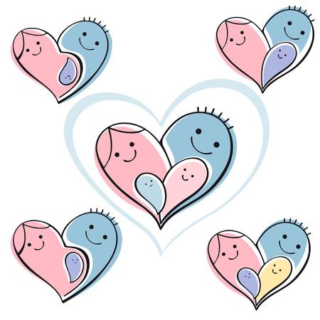 bebes ni�as: aislado conjunto de iconos - familia feliz. Vector de fondo s�mbolo del coraz�n. Vectores