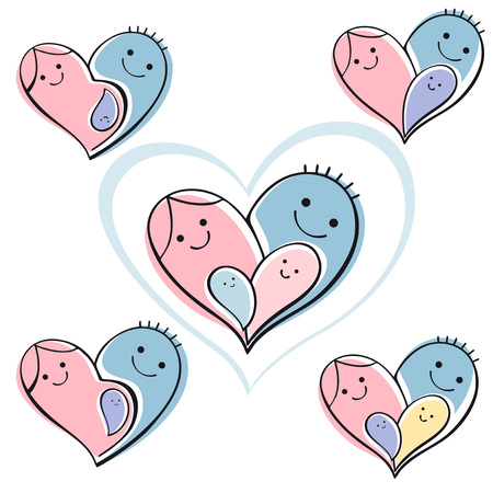illustration line art: isolated icon set - happy family. Vector background symbol heart.