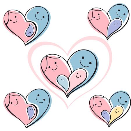 isolated icon set - happy family. Vector background symbol heart. Vektorové ilustrace