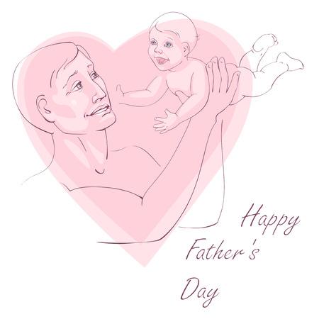 Greating postal - feliz día de padre. Padre con un niño alegre en sus brazos. Ilustración del vector.