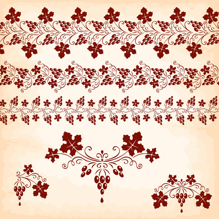 bordure de page: Vintage Design Elements. bouquet raisins rouges et feuilles Illustration