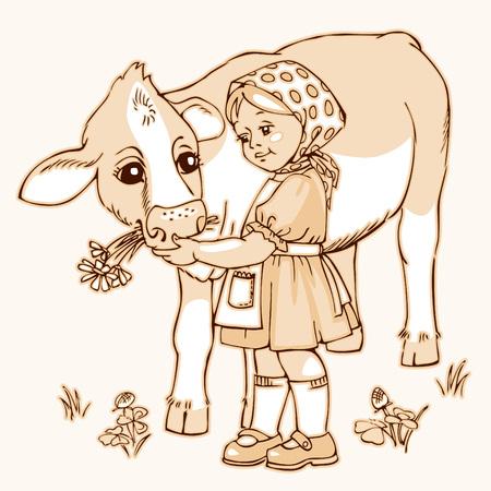 Cute little girl feeding cow