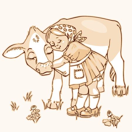 Cute little girl hugging cow