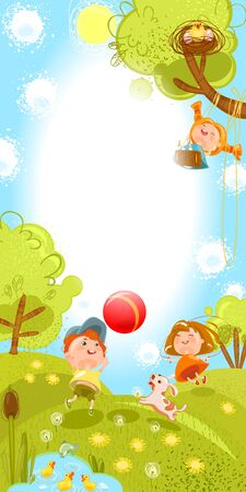 summer postcard children play in the meadow a ball with a dog, swing, jump rope,