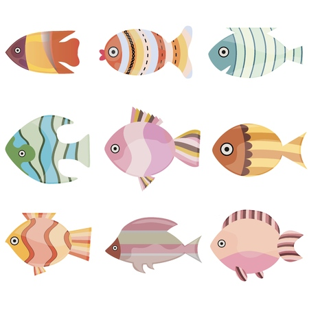 Colorful fish set vector illustration. Sea or ocean fish collection isolated on white background.