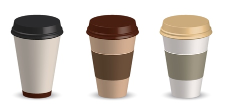 Set of paper cup coffee vector illustration. Cup coffee mockup. Template for your design project.