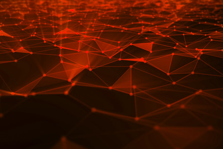 Abstract background of lines and dots, low poly mesh. Concept cloud internet connections technology connections. The current example of artificial intelligence concepts of the future, 3D illustration Stock Photo