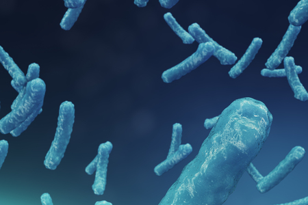 Abstract background virus. The concept of science and medicine, reducing immunity in the body. Influenza virus, hepatitis virus, cells that infect the living organism. 3d illustration Standard-Bild - 109633985