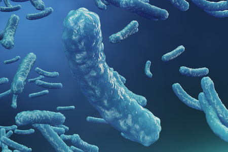 3D illustration virus backgorund. Virus influenza, hepatitis, AIDS, E. coli, colon bacillus. Concept of science and medicine, reducing immunity. Cell infected organism Standard-Bild - 109627518