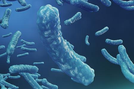3D illustration virus backgorund. Virus influenza, hepatitis, AIDS, E. coli, colon bacillus. Concept of science and medicine, reducing immunity. Cell infected organism