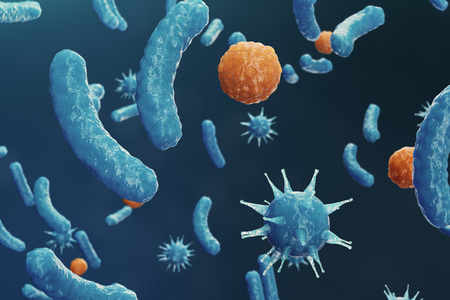 3D illustration Virus backgorund. Viruses influenza, hepatitis, AIDS, E. coli, colon bacillus. Concept of science and medicine, reducing immunity, Cell infected organism