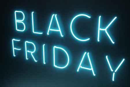 Black Friday - The Most Expected Sale of the Year. Neon blue 3D banner. Grand Discounts. Only once a year, maximum discounts. Sales, joy, success. 3D illustration