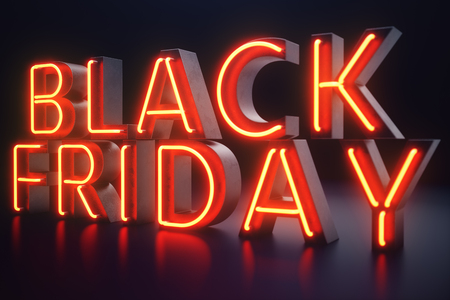 Black Friday - The Most Expected Sale of the Year. Neon Red 3D banner. Grand Discounts. Only once a year, maximum discounts. Sales, joy, success, 3D illustration