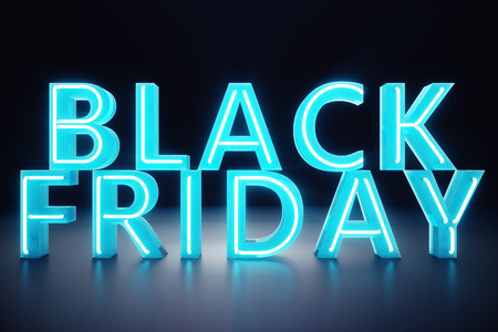 Black Friday - The Most Expected Sale of the Year. Neon Blue 3D banner. Grand Discounts. Only once a year, maximum discounts. Sales, joy, success, 3D illustration 스톡 콘텐츠 - 111407075