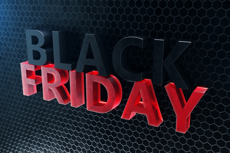 Black Friday - Only once a year, maximum discounts. Sales, joy, success. The moment. Black Friday text on the wall. Great sale. 3D illustration 版權商用圖片