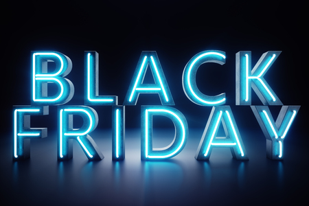 Black Friday - The Most Expected Sale of the Year. Neon Blue 3D banner. Grand Discounts. Only once a year, maximum discounts. Sales, joy, success, 3D illustration