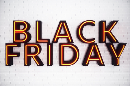 Black Friday - The Most Expected Sale of the Year. Neon Red 3D banner. Grand Discounts. Only once a year, maximum discounts. Sales, joy, success. 3D illustration