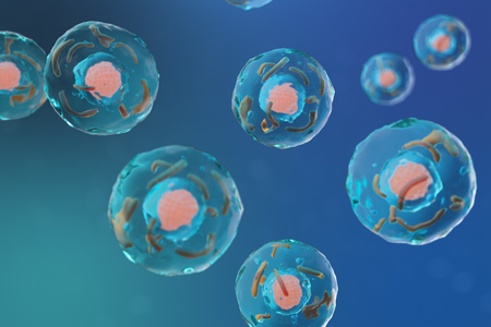 3D illustration cell of a living organism, scientific concept. Illustration on a blue background. The structure of the cell at the molecular level, under a microscope. encrypted DNA in the cell.