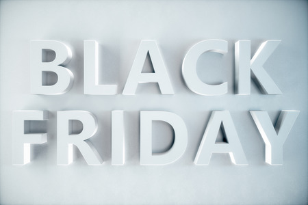 Black Friday - The Most Expected Sale of the Year. 3D white banner, text on white wall. Grand Discounts. Only once a year, maximum discounts. Sales, joy, success, 3D illustration 스톡 콘텐츠 - 111406981