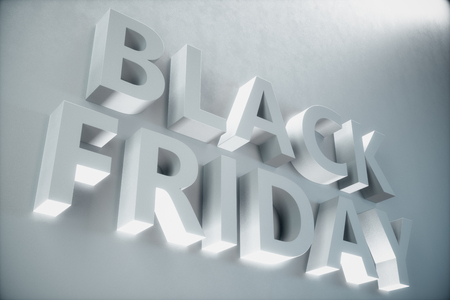 Black Friday - The Most Expected Sale of the Year. 3D white banner, text on white wall. Grand Discounts. Only once a year, maximum discounts. Sales, joy, success, 3D illustration