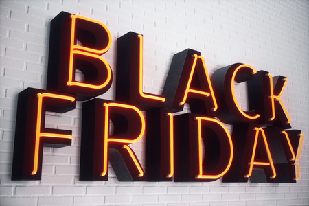 Black Friday - The Most Expected Sale of the Year. Neon Red 3D banner. Grand Discounts. Only once a year, maximum discounts. Sales, joy, success. 3D illustration 스톡 콘텐츠 - 111403963