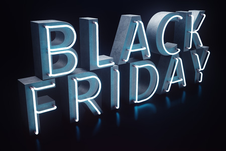 Black Friday - The Most Expected Sale of the Year. Neon Blue 3D banner. Grand Discounts. Only once a year, maximum discounts. Sales, joy, success, 3D illustration 스톡 콘텐츠 - 111403973