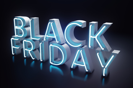 Black Friday - The Most Expected Sale of the Year. Neon Blue 3D banner. Grand Discounts. Only once a year, maximum discounts. Sales, joy, success, 3D illustration 스톡 콘텐츠 - 111403975
