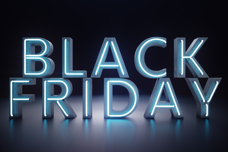 Black Friday - The Most Expected Sale of the Year. Neon Blue 3D banner. Grand Discounts. Only once a year, maximum discounts. Sales, joy, success, 3D illustration 스톡 콘텐츠 - 111403980