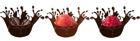 Set of realistic chocolate splashes along with coffee, raspberries, pomegranate isolated on a white background. Vector illustration.