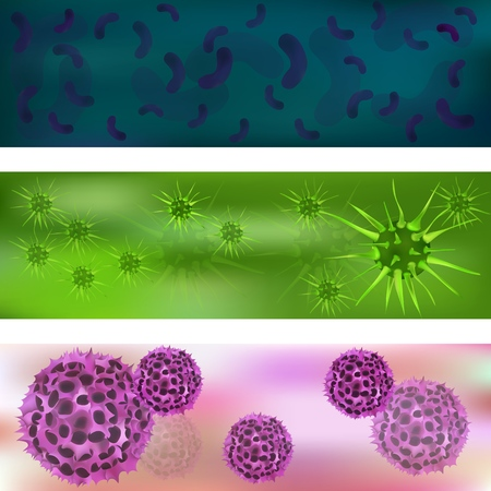 Banner with a set of viruses and bacteria. Viruses and bacteria under the microscope. Bacterial virus, microbial cells. Cold, acute respiratory infections, SARS, flu. Vector illustration.