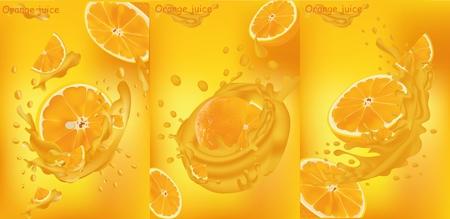 Orange juice close-up. Fresh orange juice. Splashes with orange. Vector graphics