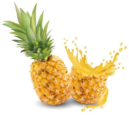 Primo piano del succo di ananas. Succo di ananas fresco. Splash con ananas su sfondo bianco. Grafica vettoriale. Ananas realistico Vettoriali