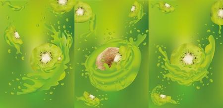 Kiwi juice close up. Fresh juice with kiwi. Splashes with Kiwi. Vector graphics.