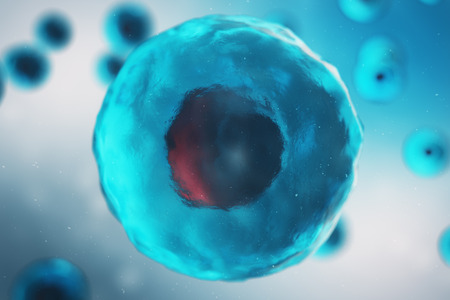 Cell of a living organism, scientific concept. Illustration on a blue background. The structure of the cell at the molecular level, under a microscope. encrypted DNA in the cell. 3D illustration