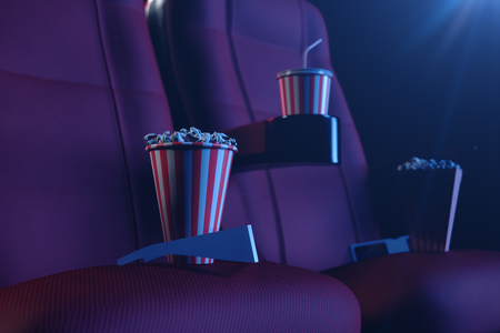 3D illustration with 3d glasses, popcorn, cup with a drink. Cinema concept wtih blue light. Red chairs in the cinema hall. Stock Photo