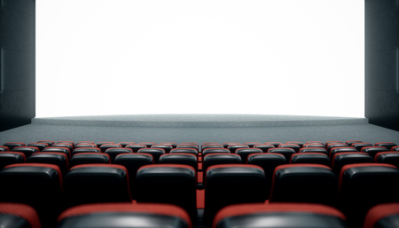 Cinema hall with blank screen and empty seats. Modern design with striking lighting, neon lighting. Audio system on the walls. Cinema hall without people. White screen with copy space, 3D illustration 스톡 콘텐츠